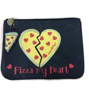 Betsey Johnson Pizza My Heart Clutch Makeup Bag